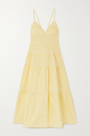 Cleo Tiered Stretch-cotton Midi Dress - Yellow