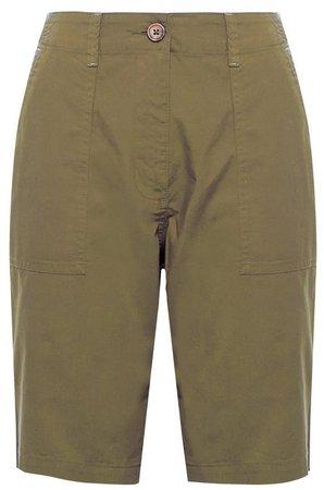 Khaki Poplin Knee Shorts