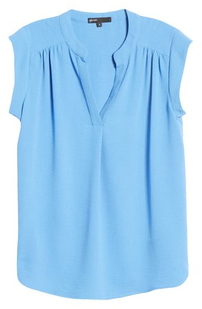 Gibson Crinkle Split Neck Top | Nordstrom
