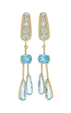 Amazonia 18k Yellow Gold Topaz, Diamond Earrings By Carol Kauffmann | Moda Operandi