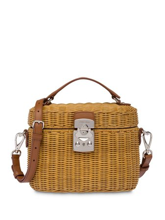 Miu Miu, Wicker And Leather Shoulder Bag