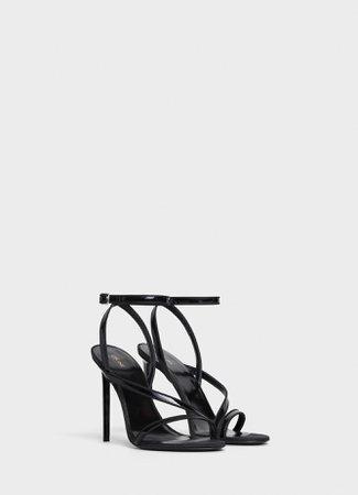 sandal Celine Sharp in patent calfskin and reps - Black - Official website   CELINE - Official website   CELINE