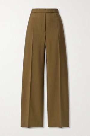 Wool And Mohair-blend Straight-leg Pants - Brown