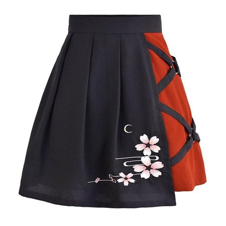 black skirt with red and floral design