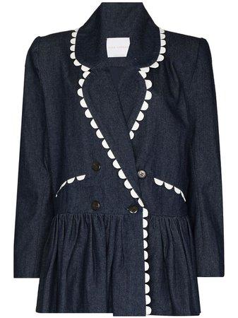 Shop blue Kika Vargas Dorothy denim peplum-waist blazer with Express Delivery - Farfetch