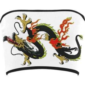 Chinese Dragon Black Bandeau Top