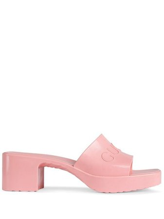 Shop pink Gucci logo embossed sandals with Express Delivery - Farfetch
