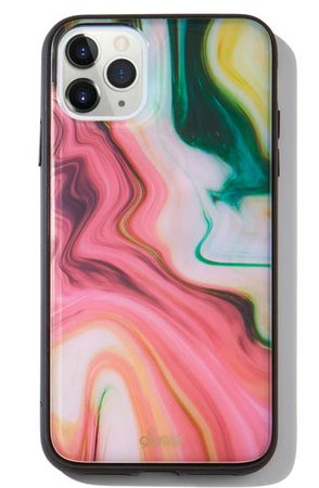 Sonix Blush Agate Print iPhone 11 Pro Max Case & Slide Silicone Phone Ring | Nordstrom