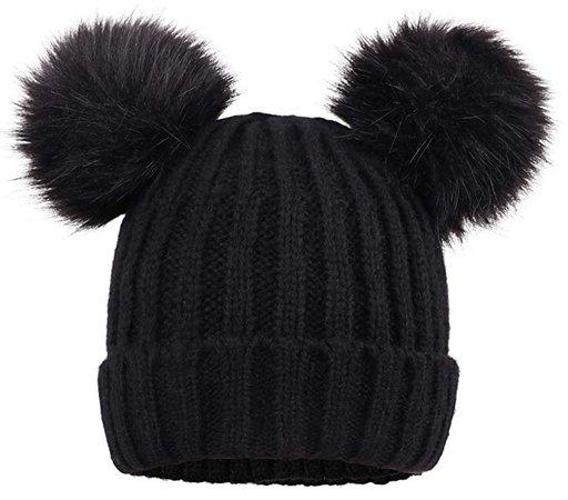 Arctic Paw Knit Beanie Faux Fur Pompom