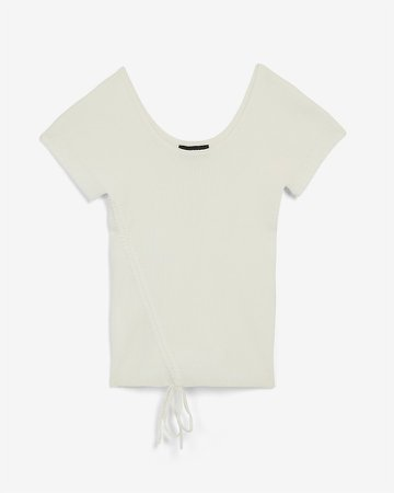 Ribbed Ruched Scoop Neck Sweater