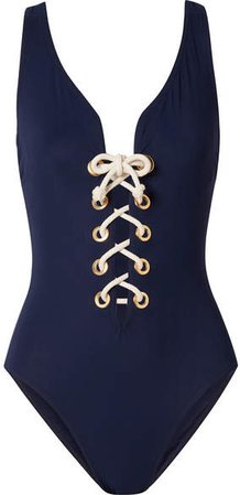 Colette Lace-up Underwired Swimsuit - Midnight blue