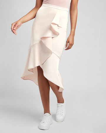 High Waisted Satin Ruffle Front Midi Skirt