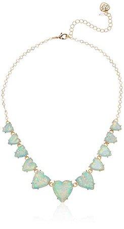 Amazon.com: Betsey Johnson (GBG) Women's Heart Stone Frontal Necklace, Opal, One Size: Gateway