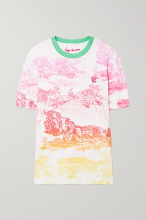 Embroidered Printed Cotton-jersey T-shirt - Pink