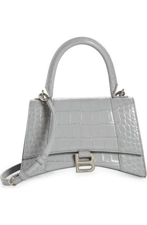 Balenciaga Small Hourglass Croc Embossed Leather Top Handle Bag | Nordstrom