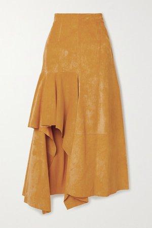 Draped Suede Skirt - Mustard