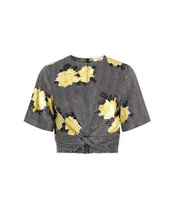 Calla Floral Plaid Silk-Blend Twist Cropped Blouse