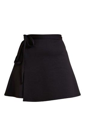 Black Wrap Scuba Mini Skirt | Skirts | PrettyLittleThing USA