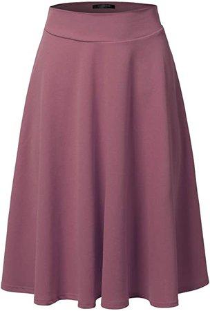 SSOULM Women's High Waist Flare A-Line Midi Skirt