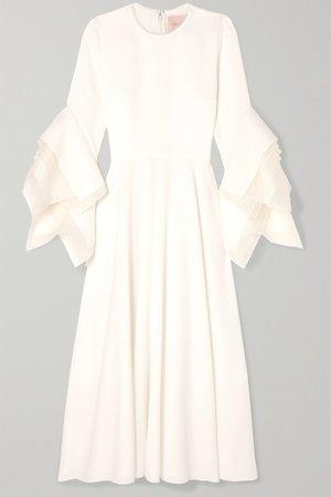 Ivory Tulle-trimmed crepe midi dress | Roksanda | NET-A-PORTER