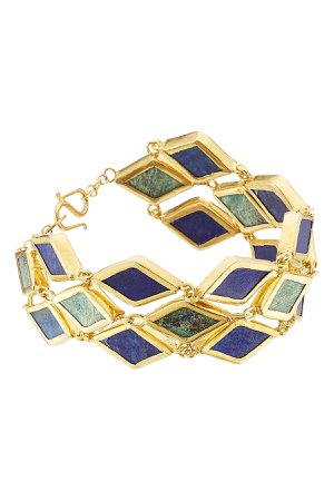 Gold Plated Silver Bracelet with Chrysocolla and Lapis Gr. One Size