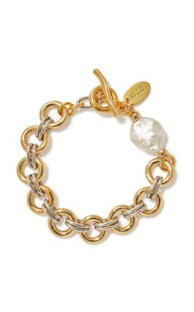 Duet Pearl Gold And Silver-Plated Brass Bracelet By Lizzie Fortunato | Moda Operandi