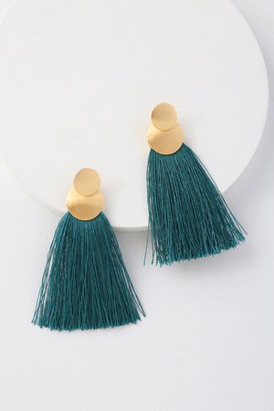 Cool Gold and Teal Earrings - Fringe Earrings - Boho Earrings