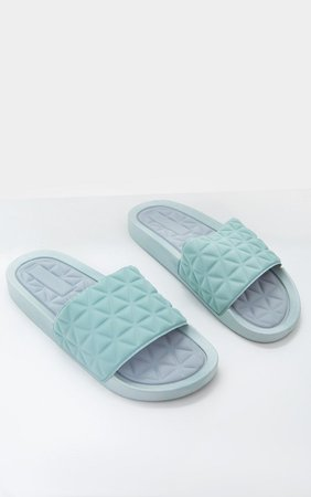Mint Quilted Rubber Slides   PrettyLittleThing USA