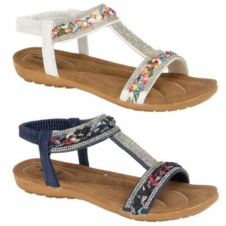 Ladies Flat Low Wedge Sandals Womens New Summer Beach Fashion Holiday Shoes Size | eBay
