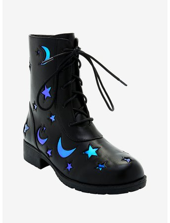 Holographic Moon & Star Cutout Combat Boots