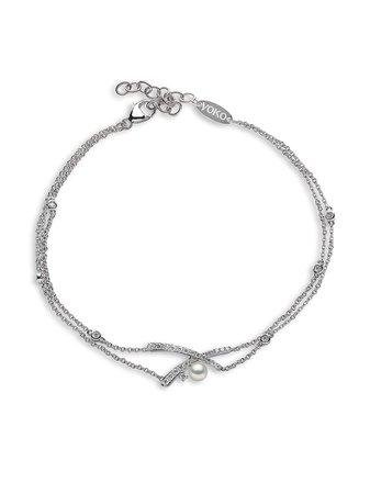 Yoko London 18kt White Gold Diamond Akoya Pearl Sleek Bracelet - Farfetch