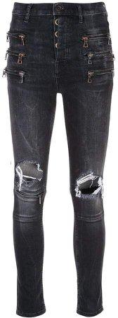 zipped knee holes skinny jeans