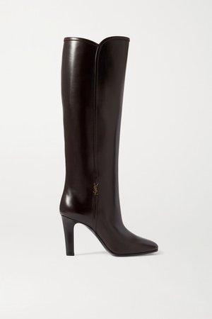 Blu Embellished Leather Knee Boots - Brown