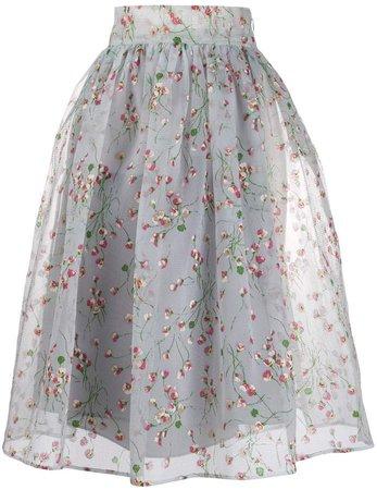 daisy print A-line skirt