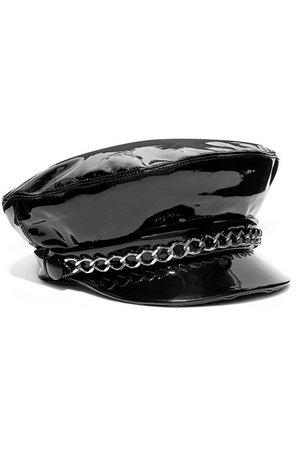 Eugenia Kim | Marina chain-embellished patent-leather cap | NET-A-PORTER.COM