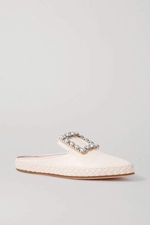 Lounge Crystal-embellished Leather Slippers - White