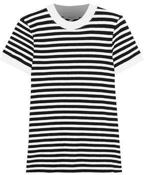 Striped Cotton-blend Pique T-shirt
