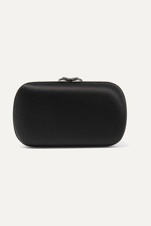 Black Broadway crystal-embellished satin clutch | Gucci | NET-A-PORTER