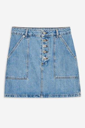 Blue Denim Button Mini Skirt | Topshop