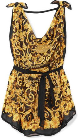 Draped Printed Silk-chiffon Dress - Yellow