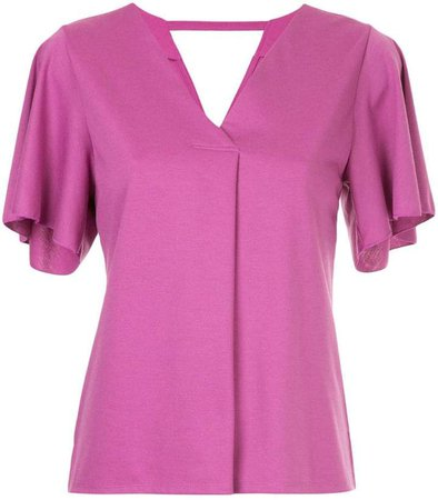 Loveless short-sleeve flared blouse
