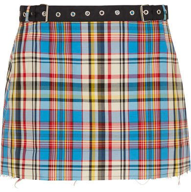 Marques' Almeida - Belted Frayed Plaid Poplin Mini Skirt - Blue