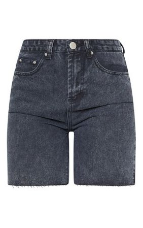 Washed Black Raw Hem Mom Shorts | Denim | PrettyLittleThing