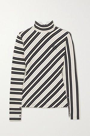 White Striped cotton-blend jersey turtleneck top | Loewe | NET-A-PORTER