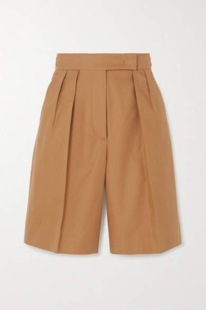 Lux Cotton-twill Shorts - Camel