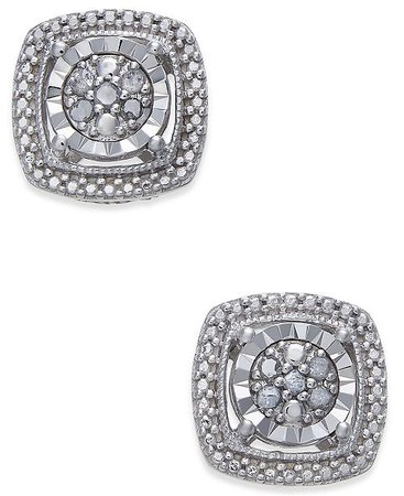 Macy's Diamond Cluster Miracle Plate Stud Earrings (1/10 ct. t.w.) in Sterling Silver Jewelry & Watches - Fashion Jewelry - Macy's