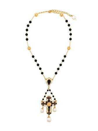 Dolce & Gabbana Beaded Crucifix Necklace - Farfetch