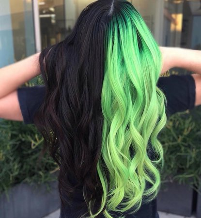Half Black & Half Light Green Hair