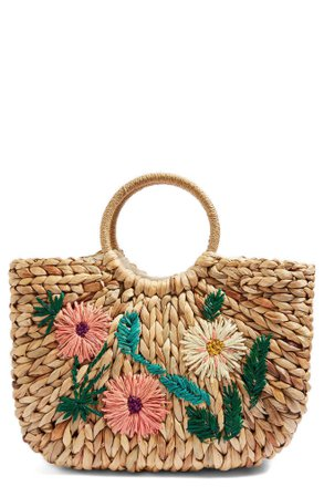 Topshop Beverly Floral Embroidered Straw Tote Bag