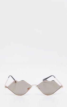 Gold Revo Lips Frame Sunglasses | PrettyLittleThing USA